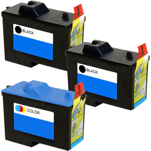Replacement Ink (3-pack) for Dell X0502 / 7Y743 Black & Dell X0504 / 7Y745 Color Series 2 Ink Cartridges (2x Black, 1x Color)