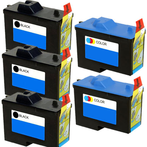 Replacement Ink (5-pack) for Dell X0502 / 7Y743 Black & Dell X0504 / 7Y745 Color Series 2 Ink Cartridges (3x Black, 2x Color)