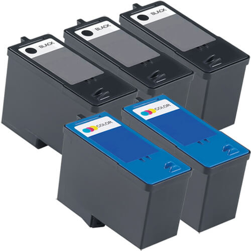 Replacement Ink (5-pack) for Dell M4640 Black & Dell M4646 Color Series 5 High Yield Ink Cartridges (3x Black, 2x Color)